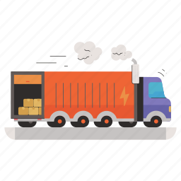 transportation, delivery, logistic, truck, lorry, box, package