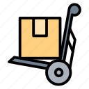 delivery, logistic, package, shipping, trolley icon