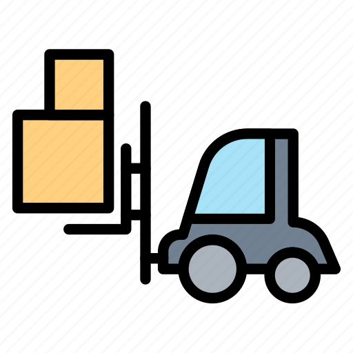 forklift, loader, logistic, package, shipping icon