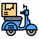 delivery, logistic, motorcycle, package, shipping icon