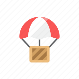 airdrop, box, drop shipping, shipment icon
