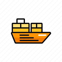 cargo ship, export, freight, port, shipping, transport, vessel icon