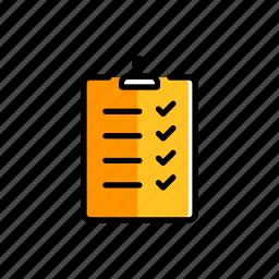business, checklist, document, form, mark, questionnaire, tick icon