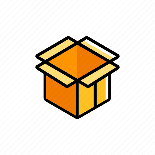 cardboard, container, delivery, open box, package, packaging, shipping icon