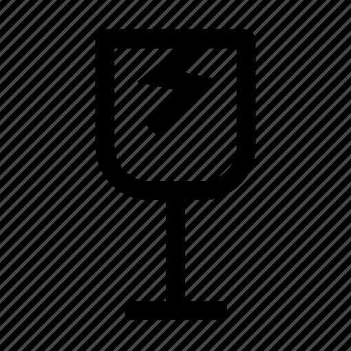 broken glass, fragile, logistics icon