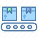 cargo, conveyor belt, goods, industry, luggage, package, parcel icon