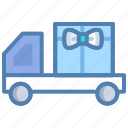celebration, delivery van, gift, offer, parcel, shipping icon