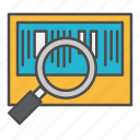 barcode, looking glass, scanning, tracking icon