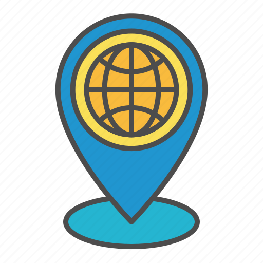 global, location, pin, tracking icon