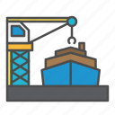 crane, harbour, loading, ship icon