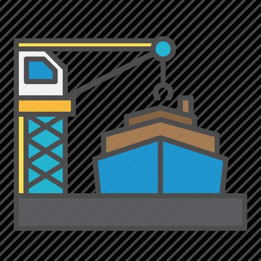 crane, harbour, loading, ship icon