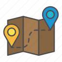 map, planning, route, shipping icon