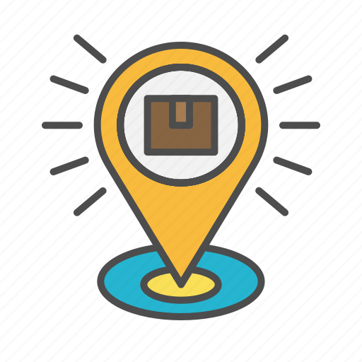 location, package, parcel, pin, tracking icon