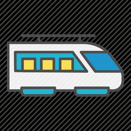 fast, modern, person, train, transport icon