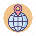 geolocation, globe, gps, location icon