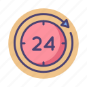 24 hours, round the clock icon