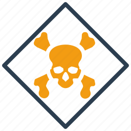 cargo, hazardous, sign, skull icon