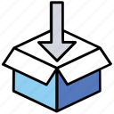 cardboard box, cargo package, shipping package, delivering goods, packed parcel icon