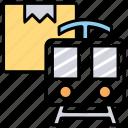 goods train, rail freight, railway cargo, ship by train, train cargo train icon