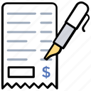 sales chit, payment receipt, payment invoice, cash slip, delivery slip icon