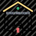 logistics management, storage house insurance, godown safety, safe deposit, warehouse security icon