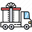 gift delivery, gift parcel, present delivery, sending gift parcel, present parcel delivery icon