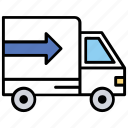 delivery truck, goods trade, goods transport, shipping van, transport courier icon