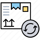 refund, reorder, resend, return, reverse order icon