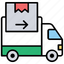delivery truck, goods transport, project cargo, shipping van, transport courier icon
