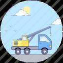 crane truck, crane van, industrial crane van, mobile crane icon