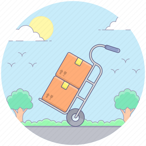 dispatch, hand trolley, hand truck, luggage cart, pushcart icon