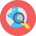 globe, location, magnifier, search location, tracking icon