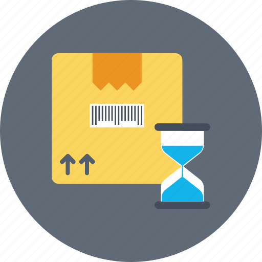 delivery, fast, hourglass, package, shipping time icon