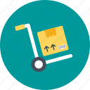 box, cart, package, parcel, trolley icon