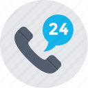 customer service, helpline, receiver, support, twenty four hours icon
