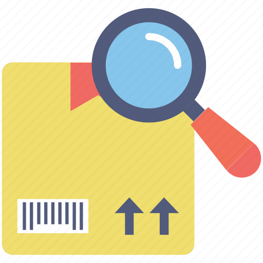 box, magnifier, parcel, shipping, tracking icon