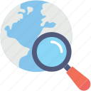 globe, location, magnifier, search location, tracking icon