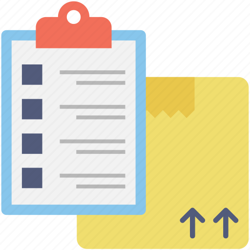 box, checklist, package, planning, shipping icon