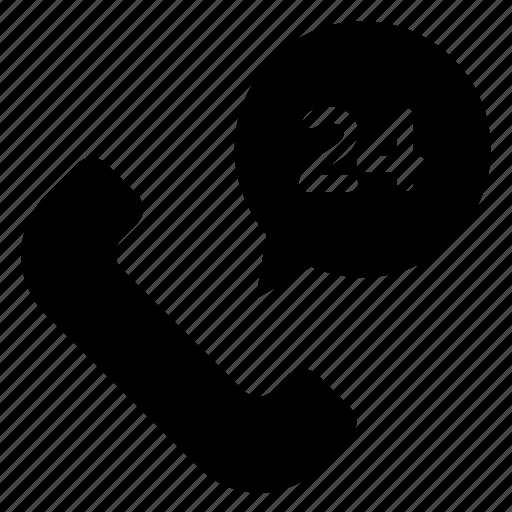customer service, helpline, receiver, support, twenty four hours icon