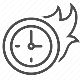 clock, deadline, flame, on fire, time icon