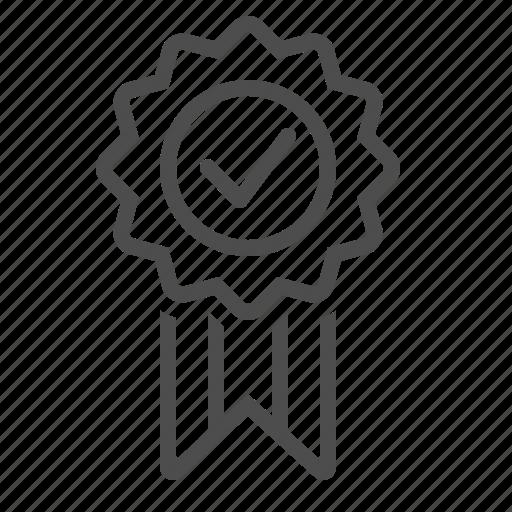 award, check mark, guarantee, medal, prize, ribbon, verified icon