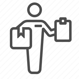 box, clipboard, courier service, crate, delivery boy, delivery man, package icon