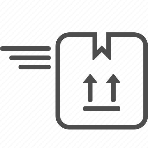 box, courier, crate, delivery, fast, package, speed lines icon