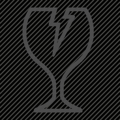 broken, crack, fragile, glass, wine glass icon