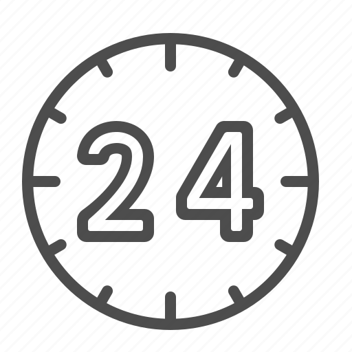 24 hours, around the clock, clock, customer service, support icon