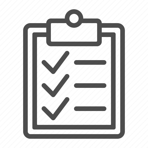 check mark, checklist, clipboard, document, list icon
