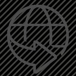 around the world, arrow, global, globe, network, world wide, worldwide icon
