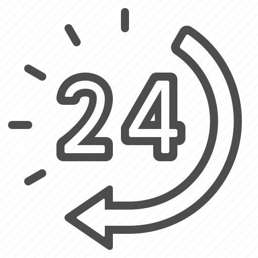 24 hours, around the clock, arrow, clock, customer service, customer support icon