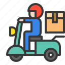 delivery, logistic, motorcycle, shipping, transport, transportation icon