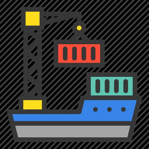 boat, cargo boat, crane, delivery, logistic, transport, transportation icon